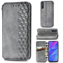 Ultra Slim Fashion Business Card Magnetic Automatic Suction Leather Flip Cover for Huawei Y8p - Grey