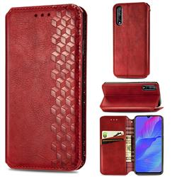 Ultra Slim Fashion Business Card Magnetic Automatic Suction Leather Flip Cover for Huawei Y8p - Red