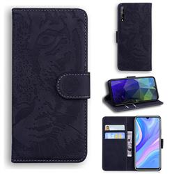Intricate Embossing Tiger Face Leather Wallet Case for Huawei Y8p - Black