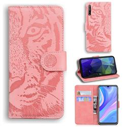 Intricate Embossing Tiger Face Leather Wallet Case for Huawei Y8p - Pink