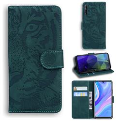 Intricate Embossing Tiger Face Leather Wallet Case for Huawei Y8p - Green