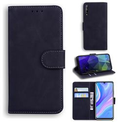 Retro Classic Skin Feel Leather Wallet Phone Case for Huawei Y8p - Black