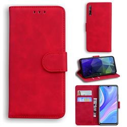 Retro Classic Skin Feel Leather Wallet Phone Case for Huawei Y8p - Red
