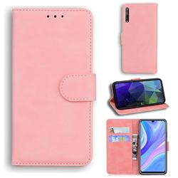 Retro Classic Skin Feel Leather Wallet Phone Case for Huawei Y8p - Pink