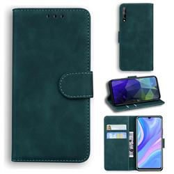 Retro Classic Skin Feel Leather Wallet Phone Case for Huawei Y8p - Green