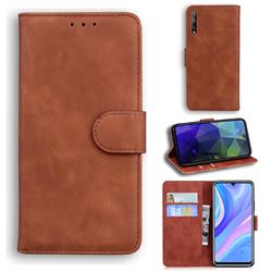 Retro Classic Skin Feel Leather Wallet Phone Case for Huawei Y8p - Brown