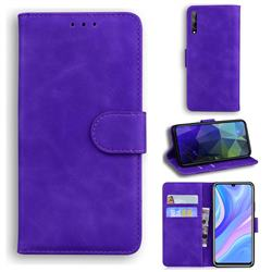 Retro Classic Skin Feel Leather Wallet Phone Case for Huawei Y8p - Purple