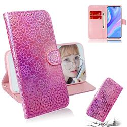 Laser Circle Shining Leather Wallet Phone Case for Huawei Y8p - Pink