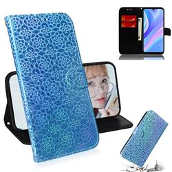 Laser Circle Shining Leather Wallet Phone Case for Huawei Y8p - Blue