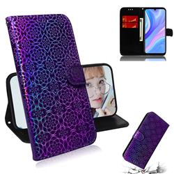 Laser Circle Shining Leather Wallet Phone Case for Huawei Y8p - Purple