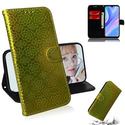 Laser Circle Shining Leather Wallet Phone Case for Huawei Y8p - Golden