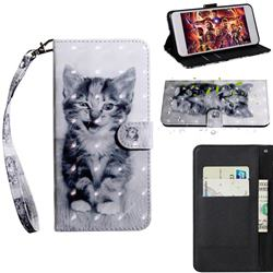 Smiley Cat 3D Painted Leather Wallet Case for Huawei Y8p