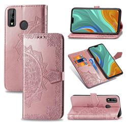 Embossing Imprint Mandala Flower Leather Wallet Case for Huawei Y8s - Rose Gold
