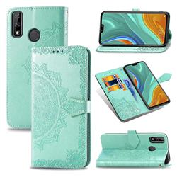 Embossing Imprint Mandala Flower Leather Wallet Case for Huawei Y8s - Green