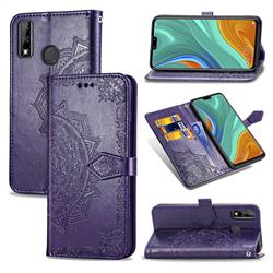Embossing Imprint Mandala Flower Leather Wallet Case for Huawei Y8s - Purple