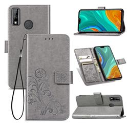 Embossing Imprint Four-Leaf Clover Leather Wallet Case for Huawei Y8s - Grey