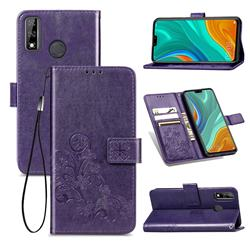 Embossing Imprint Four-Leaf Clover Leather Wallet Case for Huawei Y8s - Purple