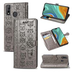 Embossing Dog Paw Kitten and Puppy Leather Wallet Case for Huawei Y8s - Gray