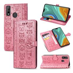 Embossing Dog Paw Kitten and Puppy Leather Wallet Case for Huawei Y8s - Pink