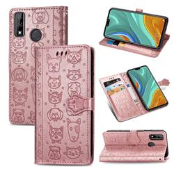 Embossing Dog Paw Kitten and Puppy Leather Wallet Case for Huawei Y8s - Rose Gold