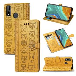 Embossing Dog Paw Kitten and Puppy Leather Wallet Case for Huawei Y8s - Yellow