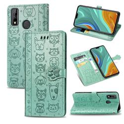 Embossing Dog Paw Kitten and Puppy Leather Wallet Case for Huawei Y8s - Green