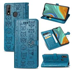 Embossing Dog Paw Kitten and Puppy Leather Wallet Case for Huawei Y8s - Blue
