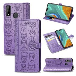 Embossing Dog Paw Kitten and Puppy Leather Wallet Case for Huawei Y8s - Purple