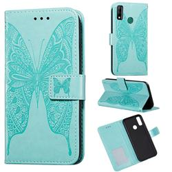 Intricate Embossing Vivid Butterfly Leather Wallet Case for Huawei Y8s - Green