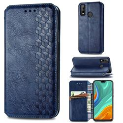 Ultra Slim Fashion Business Card Magnetic Automatic Suction Leather Flip Cover for Huawei Y8s - Dark Blue