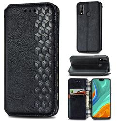 Ultra Slim Fashion Business Card Magnetic Automatic Suction Leather Flip Cover for Huawei Y8s - Black