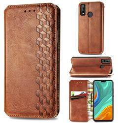 Ultra Slim Fashion Business Card Magnetic Automatic Suction Leather Flip Cover for Huawei Y8s - Brown