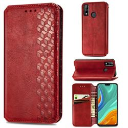 Ultra Slim Fashion Business Card Magnetic Automatic Suction Leather Flip Cover for Huawei Y8s - Red