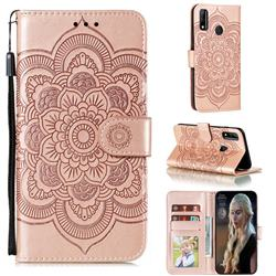 Intricate Embossing Datura Solar Leather Wallet Case for Huawei Y8s - Rose Gold