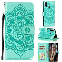 Intricate Embossing Datura Solar Leather Wallet Case for Huawei Y8s - Green
