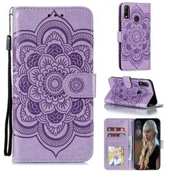 Intricate Embossing Datura Solar Leather Wallet Case for Huawei Y8s - Purple
