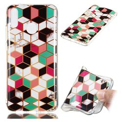 Three-dimensional Square Soft TPU Marble Pattern Phone Case for Huawei Y9 (2019)