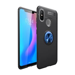 Auto Focus Invisible Ring Holder Soft Phone Case for Huawei Y9 (2019) - Black Blue