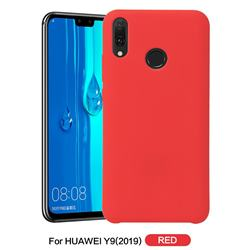 Howmak Slim Liquid Silicone Rubber Shockproof Phone Case Cover for Huawei Y9 (2019) - Red