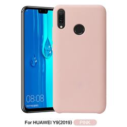 Howmak Slim Liquid Silicone Rubber Shockproof Phone Case Cover for Huawei Y9 (2019) - Pink