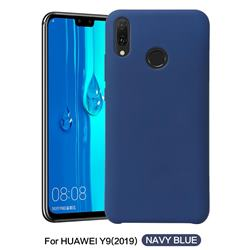 Howmak Slim Liquid Silicone Rubber Shockproof Phone Case Cover for Huawei Y9 (2019) - Midnight Blue