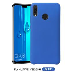 Howmak Slim Liquid Silicone Rubber Shockproof Phone Case Cover for Huawei Y9 (2019) - Sky Blue