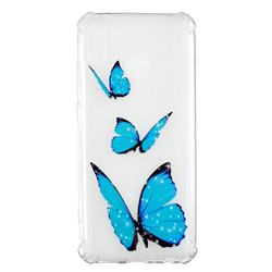 Blue butterfly Anti-fall Clear Varnish Soft TPU Back Cover for Huawei Y9 (2019)