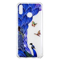 Peacock Butterfly Anti-fall Clear Varnish Soft TPU Back Cover for Huawei Y9 (2019)