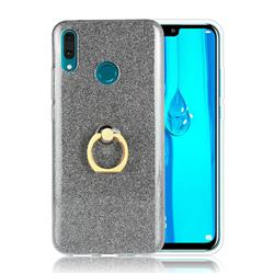 Luxury Soft TPU Glitter Back Ring Cover with 360 Rotate Finger Holder Buckle for Huawei Y9 (2019) - Black