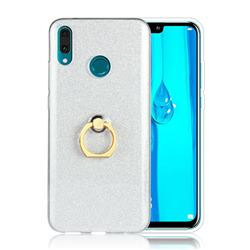 Luxury Soft TPU Glitter Back Ring Cover with 360 Rotate Finger Holder Buckle for Huawei Y9 (2019) - White