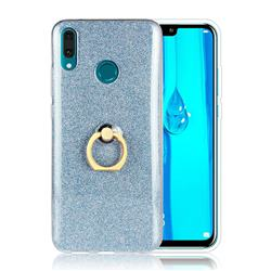 Luxury Soft TPU Glitter Back Ring Cover with 360 Rotate Finger Holder Buckle for Huawei Y9 (2019) - Blue
