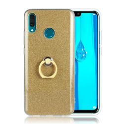 Luxury Soft TPU Glitter Back Ring Cover with 360 Rotate Finger Holder Buckle for Huawei Y9 (2019) - Golden