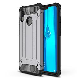King Kong Armor Premium Shockproof Dual Layer Rugged Hard Cover for Huawei Y9 (2019) - Silver Grey