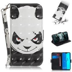 Angry Bear 3D Painted Leather Wallet Phone Case for Huawei Y9 (2019)